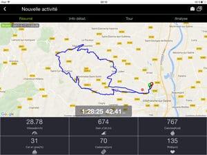 Voici le détail à l'écran de votre sortie avec l'application Bryton Active.