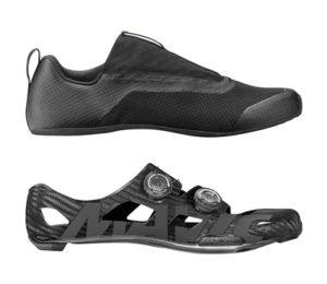 La chaussure se présente en deux parties. Une coque carbone 3K et un chausson néoprène.