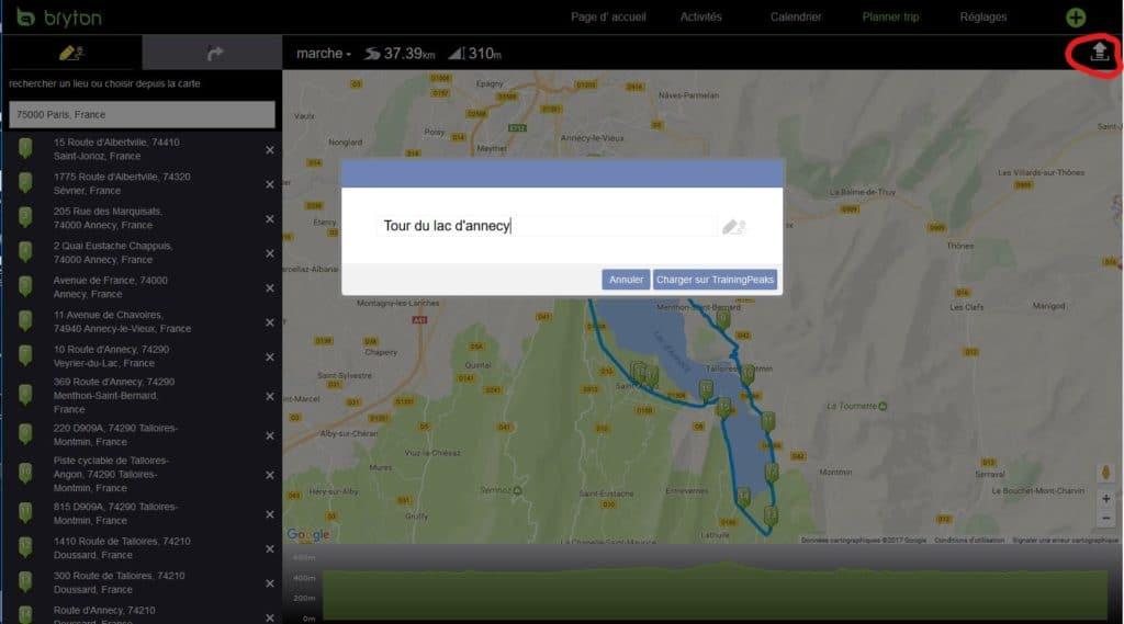 Vous devez cliquer sur l'onglet en haut à droite pour envoyer votre parcours sur le site de Training Peaks.
