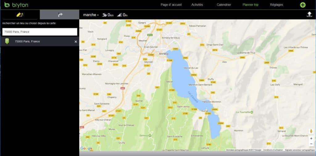 Allez sur votre compte Bryton Active et l'onglet Planer trip pour commencer la planification du parcours.