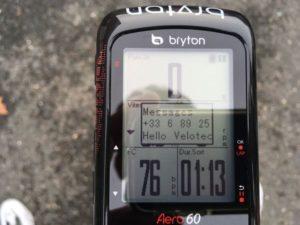 Recevoir une notification sur le Bryton Aero 60 est parfaitement possible.