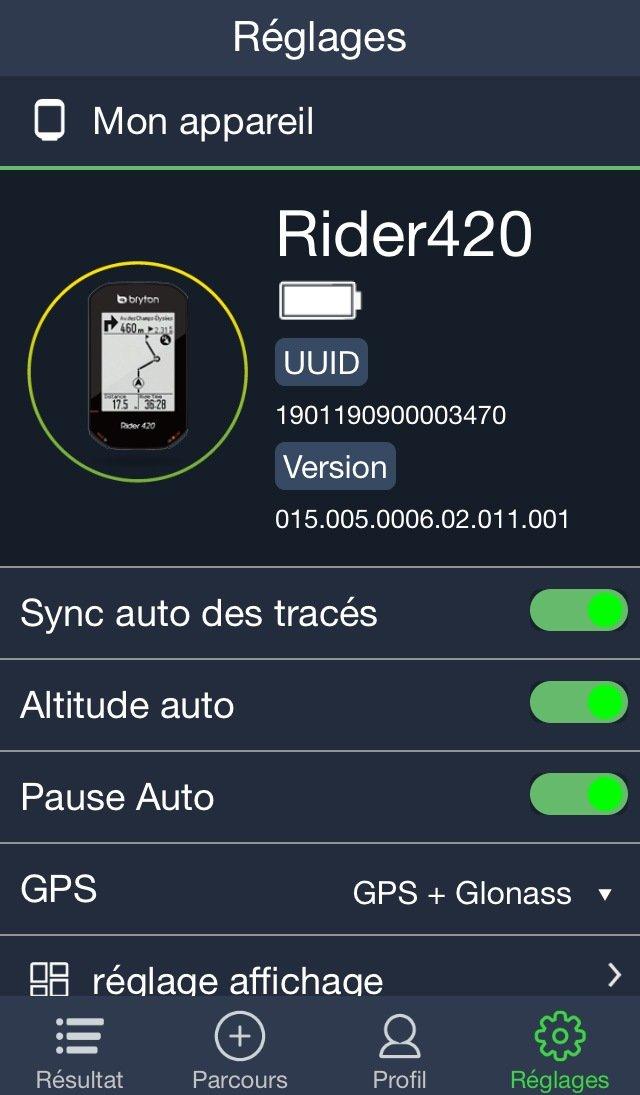 Es desde la aplicación Bryton que administramos la pantalla y la configuración.