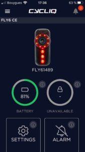 L'application de l'éclairage caméra Cycliq Fly 6 est assez intuitive.