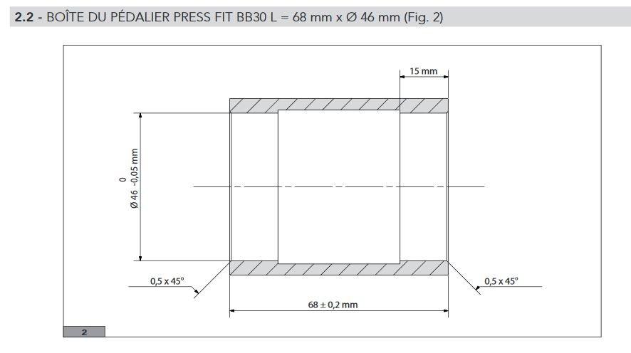 Voici les dimensions d'une boite de pédalier vélo PF30.©Campagnolo