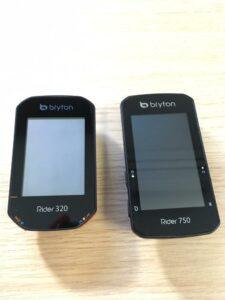 Voici le format entre un Bryton 750, à droite, et 320, à gauche.